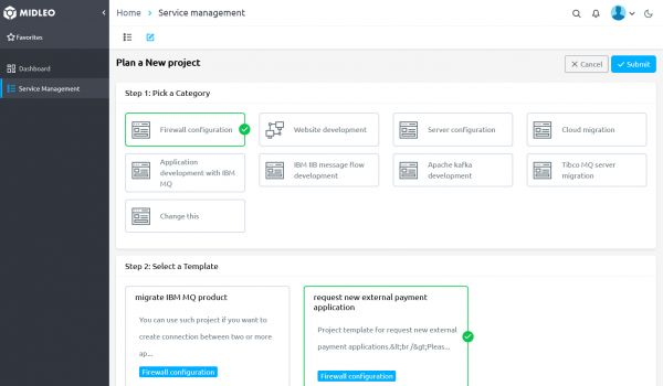 Project management templates with MIDLEO